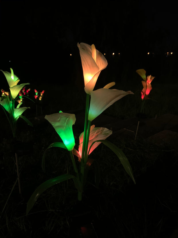 Ihrtrade Artificial Calla Lily Solar Garden Stake Lights (1 Pack of 4 Lilies)