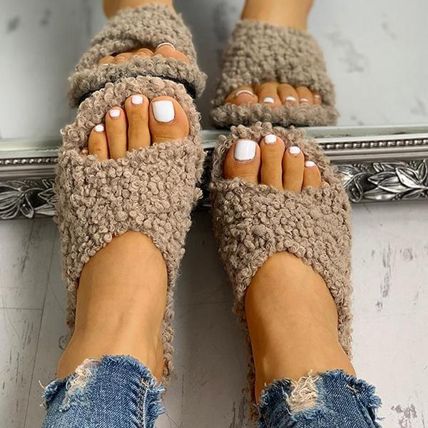 Ihrtrade Joobesty Solid Fluffy Crisscross Design Flat Slippers