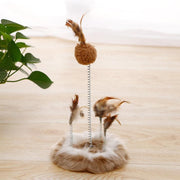 Ihrtrade Kitten Spring Plate Toy Feather Mouse Interactive Cat Toy (2 Types)