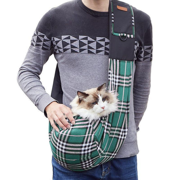 Ihrtrade Plaid Pet's Outing Sling Bag (2 colors)