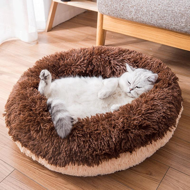 Ihrtrade Plush Donut Shape Pet Round Fluffy Bed (3 colors & 2 sizes)