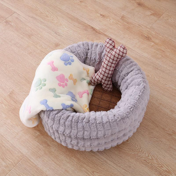 Ihrtrade Round Short Plush Pet Bed Warm Dog Cat Nest (3 colors & 3 sizes)