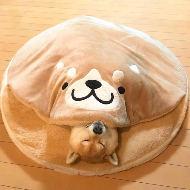 Ihrtrade Shiba Inu Short Plush Round Pet Pad