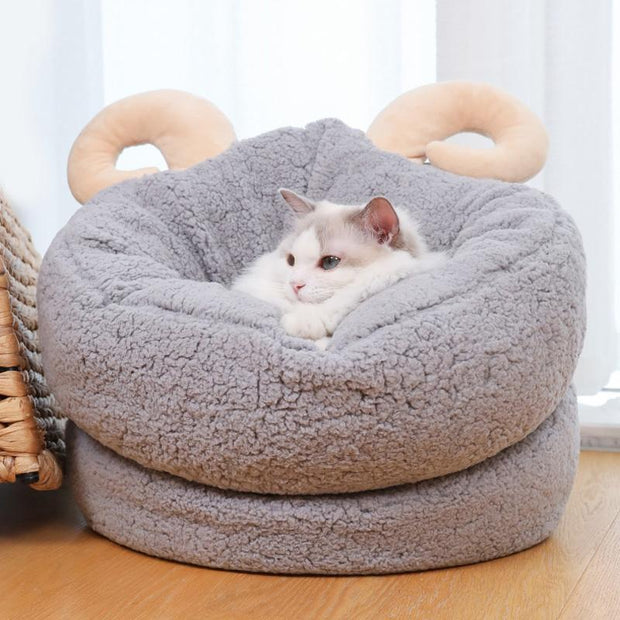 Ihrtrade Shofar Cat Nest Winter Warm Sleeping Bed  (2 colors & 2 sizes)