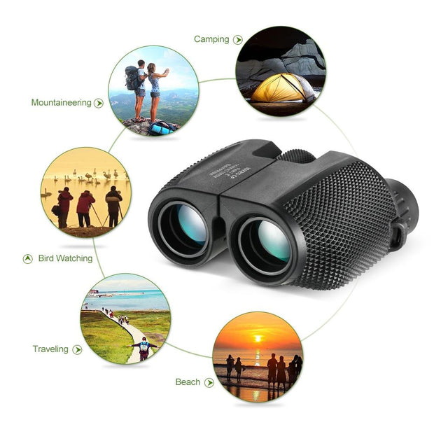 IHRtrade 10 x 25 Survival Compact High Power Telescope Camping Binocular