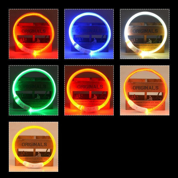 Ihrtrade USB Charging LED Flashing Safety Dog Collar (7 colors & 3 sizes)