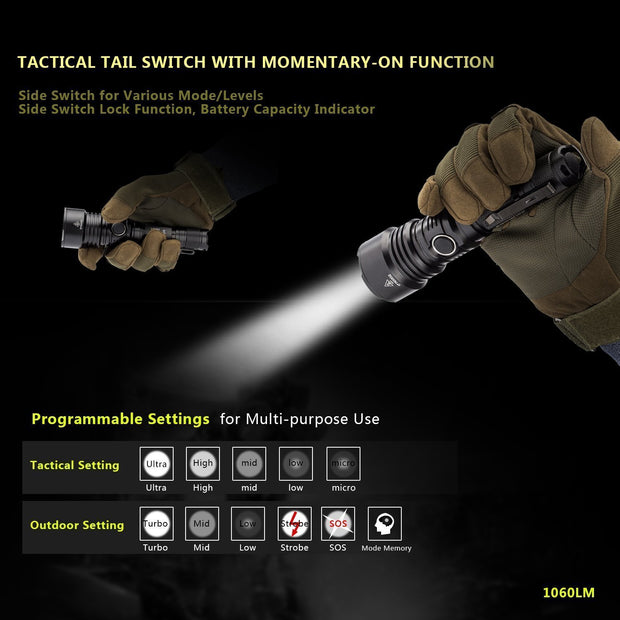 Soonfire Ultra Bright Tactical Flashlight , 1060 LM USB Rechargeable Waterproof Flashlight ( VS50 )