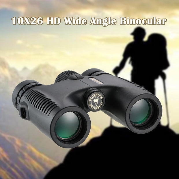 IHRtrade HD 10X26 Waterproof Compact Binocular BaK4 Roof Prism Wide Angle Powerful Zoom Binoculars Travel Hunting Telescope