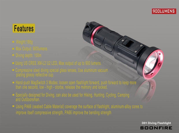 Soonfire Diving Flashlight: 900 Lumens, 100m Diving Depth, Magnetron Switch, 18650 Rechargeable Battery