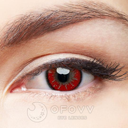 Ofovv® Cheap Prescription Party Mystery II Red Colored Contact Lenses Online Store(1 YEAR)