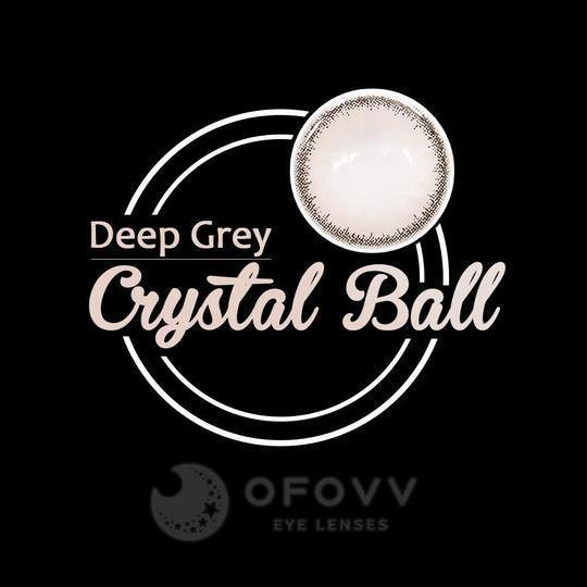 Ofovv®Cheap Prescription Crystal Ball Deep Grey Colored Contact Lenses Online Store(1 YEAR)