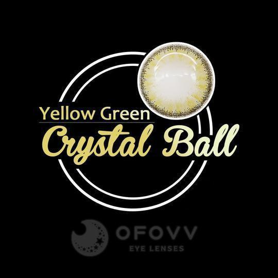 Ofovv® Cheap Prescription Crystal Ball Yellow-Green Colored Contact Lenses Online Store (1 YEAR)