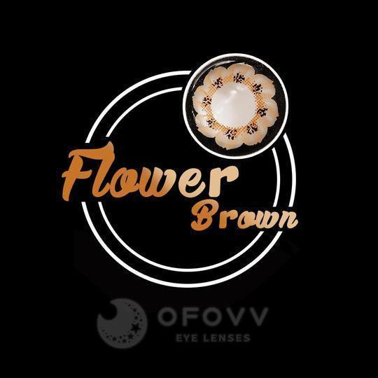 Ofovv® Cheap Prescription Flower Brown Colored Contact Lenses Online Store (1 YEAR)