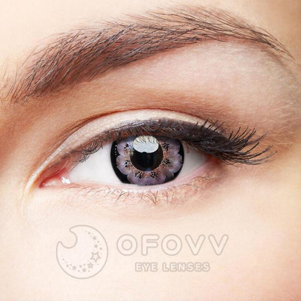 Ofovv® Cheap Prescription Flower Grey Colored Contact Lenses Online Store (1 YEAR)