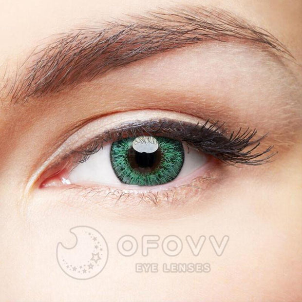 Ofovv® Cheap Prescription Floweriness Green Colored Contact Lenses Online Store(1 YEAR)