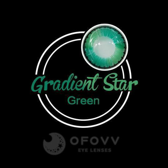 Ofovv® Cheap Prescription Gradient Star Green Colored Contact Lenses Online Store(1 YEAR)