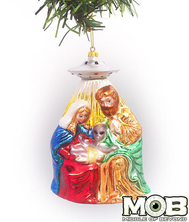 Alien Nativity Glass Ornament