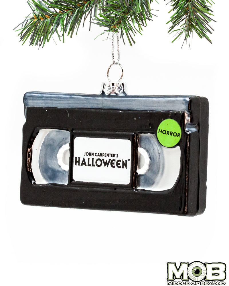 Halloween VHS Glass Ornament