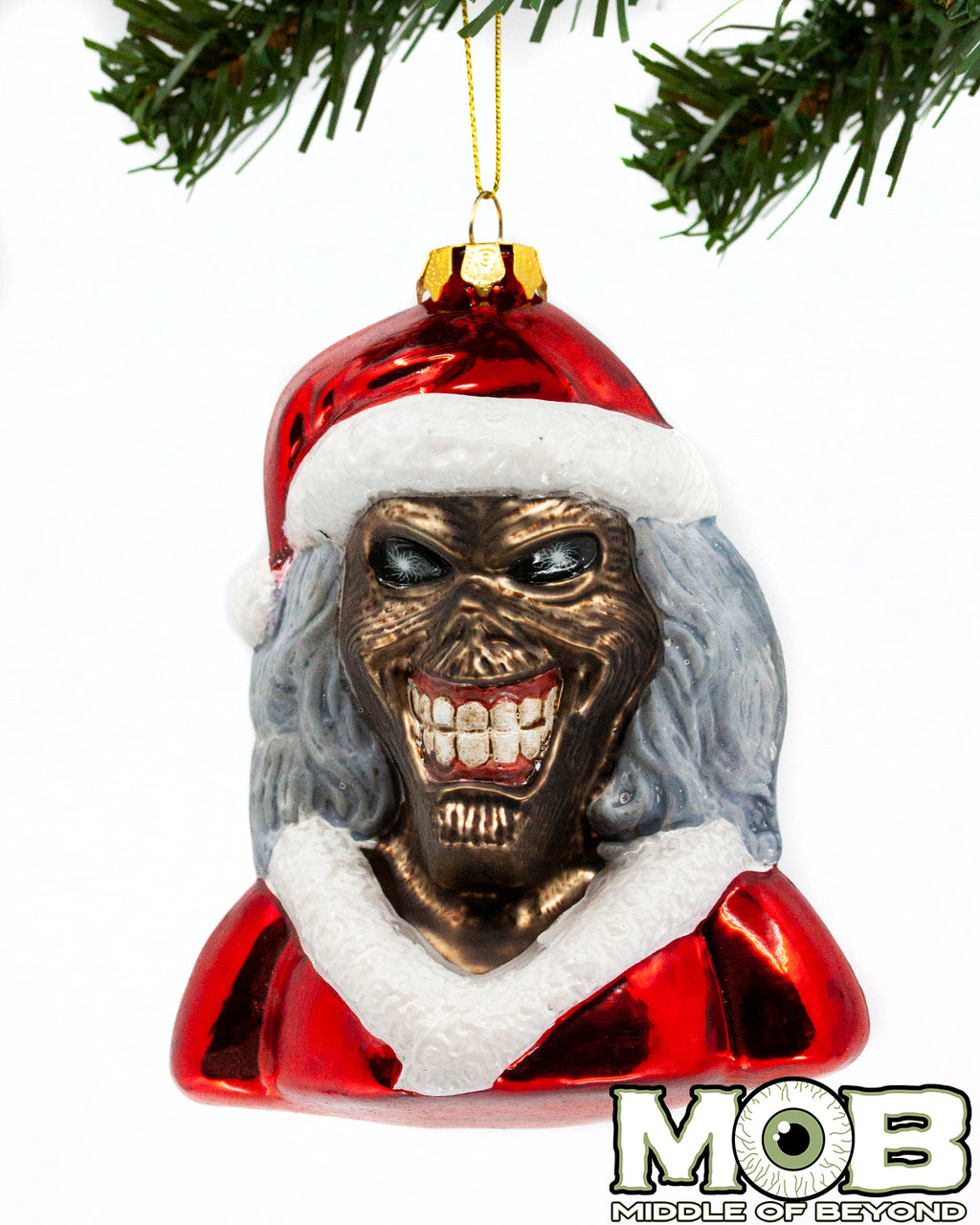 Iron Maiden - Santa Eddie Glass Ornament