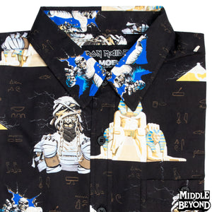 Iron Maiden Powerslave Short Sleeve Button-Up Shirt