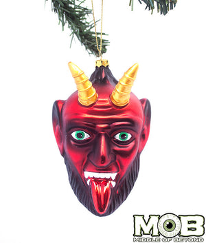 Krampus The Christmas Devil Glass Ornament- Red