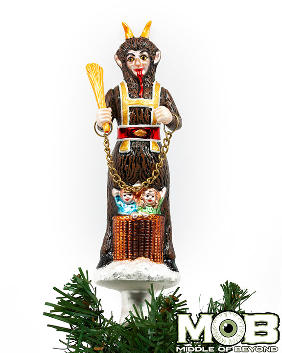 Krampus The Christmas Devil Glass Tree Topper