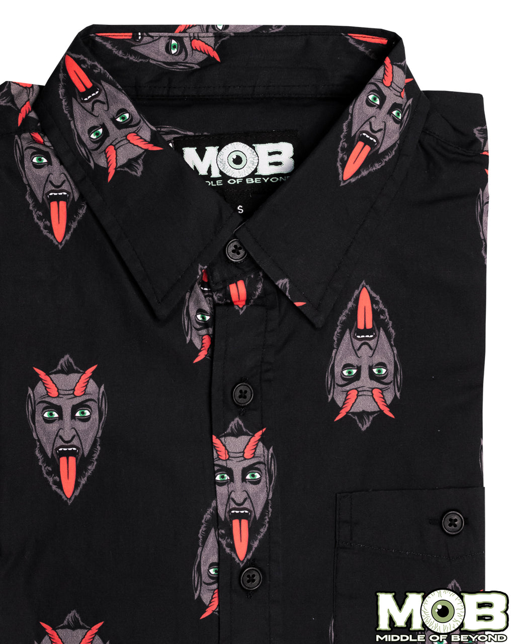 Krampus the Christmas Devil Short Sleeve Button-Up Shirt