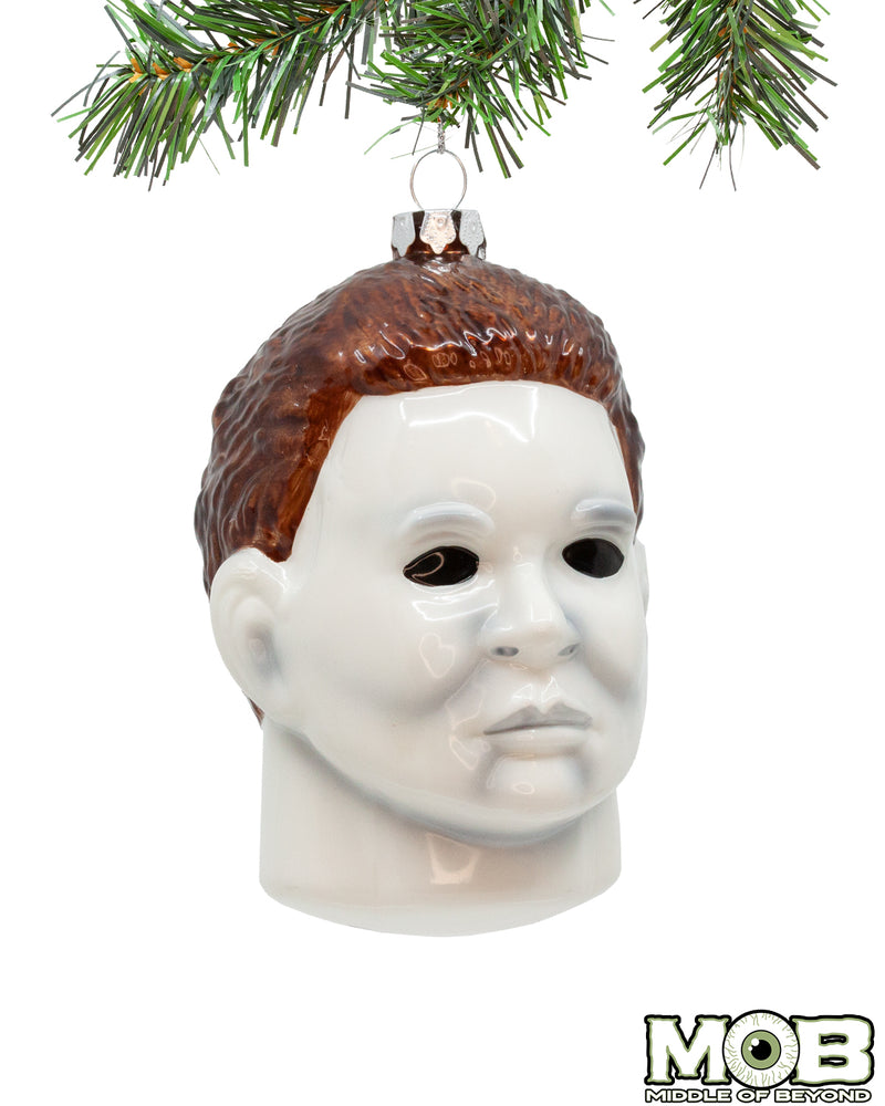 Halloween Michael Myers Head Glass Ornament