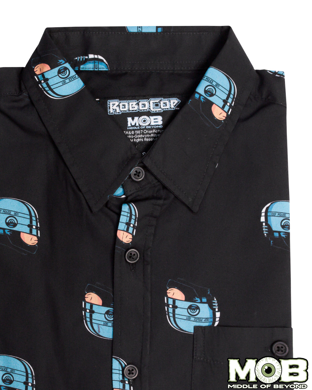 RoboCop Head Short Sleeve Button-Up Shirt