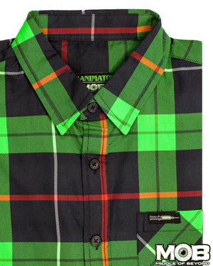 Re-Animator Plaid Short Sleeve Button-Up Shirt