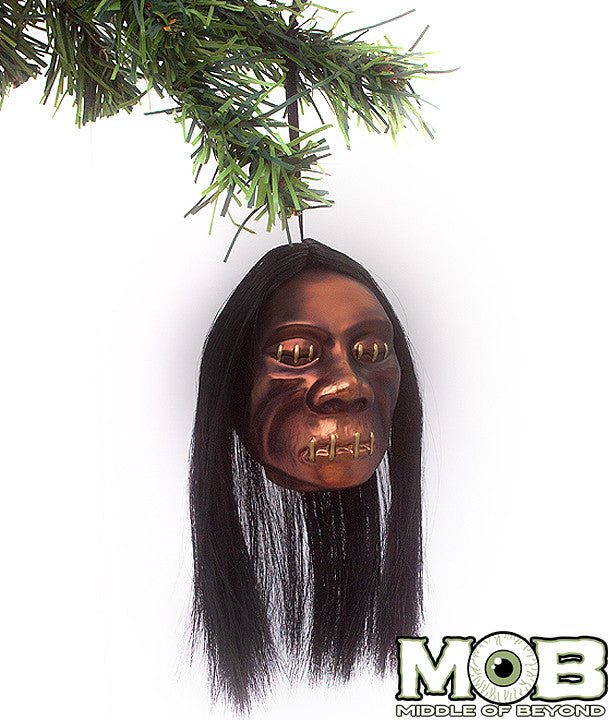 Shrunken Head Glass Ornament