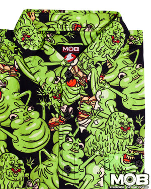 Ghostbusters Green Slimer Short Sleeve Button-Up Shirt