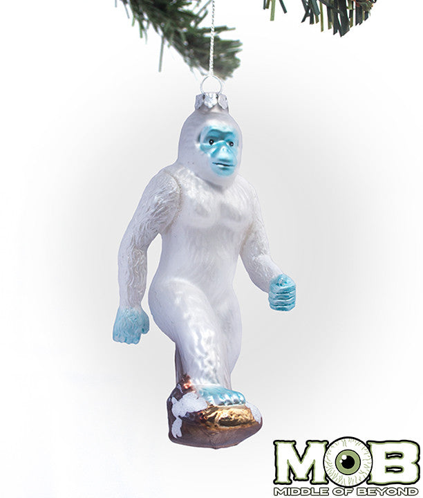 Yeti Abominable Snowman Glass Ornament