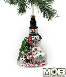 Zombie Snowman Glass Ornament