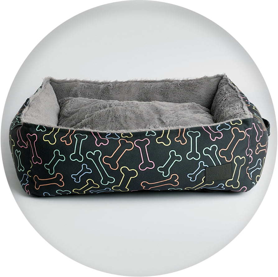 La Doggie Vita - Black Bone Water Resistant Square Pet Bed