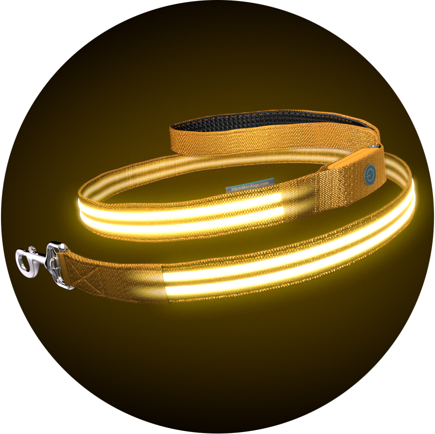 Yellow Gold Poochlight™ Light Up Flashing Dog Leash