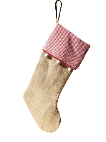 Bells Burlap Stocking