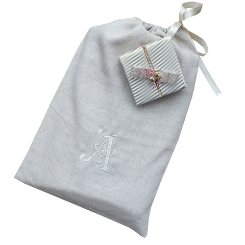 Pure Linen Monogram Lingerie Bag