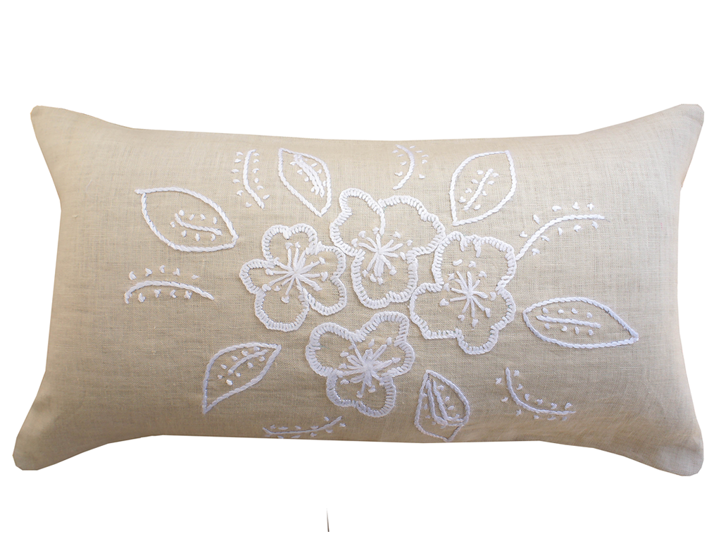 Riviera Hand Embroidered Linen Pillow