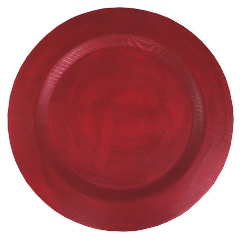 Weathered  Wood Charger-Christmas Red