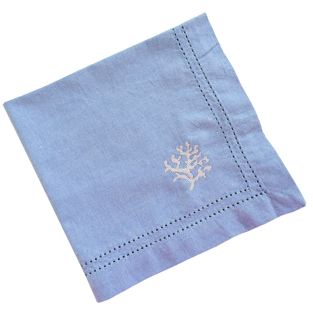 Coral Reef Embridered Hemstitcth Napkins