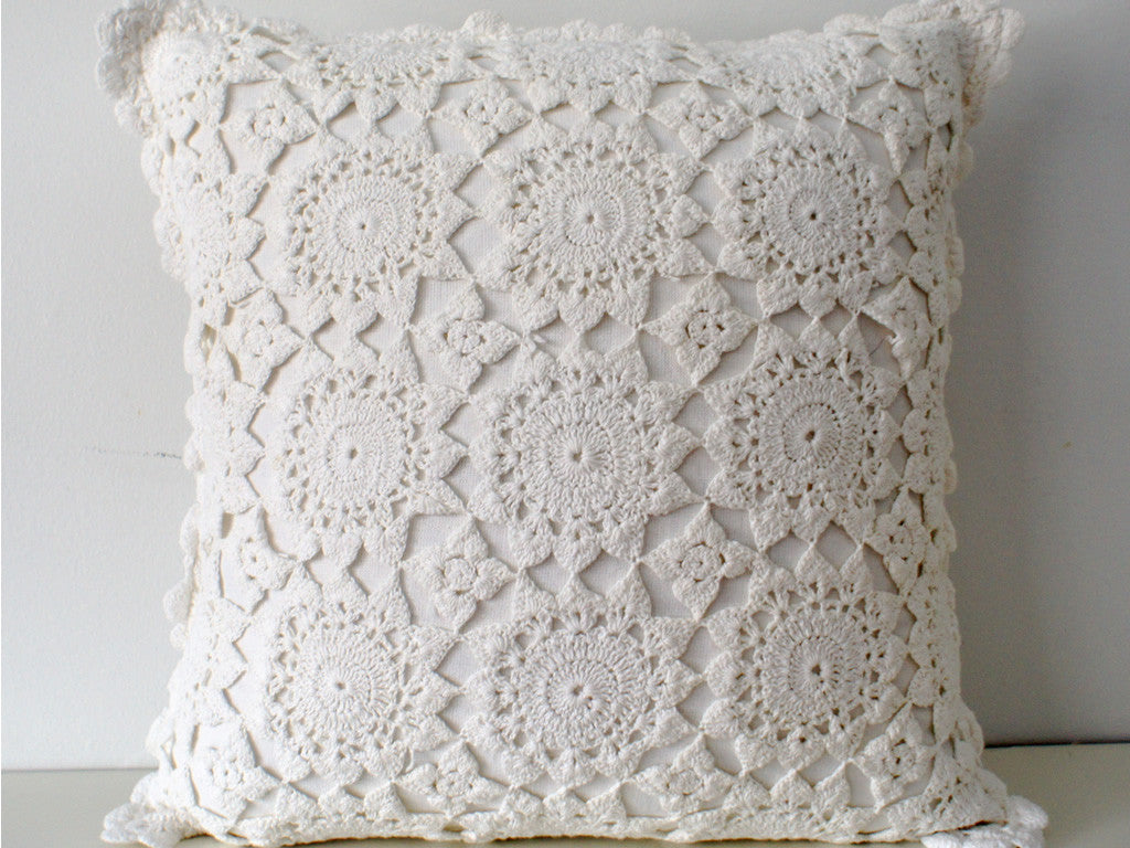 French Crochet Pillow Cover