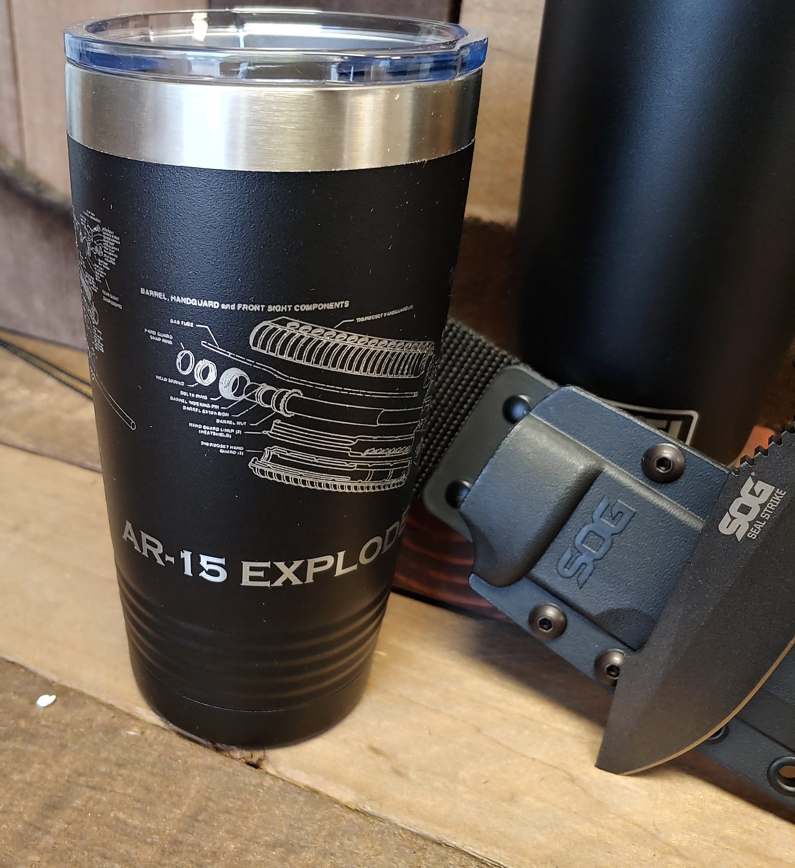 Black 20oz Exploded Firearm Stainless Steel Tumbler YETI/Polar Camel