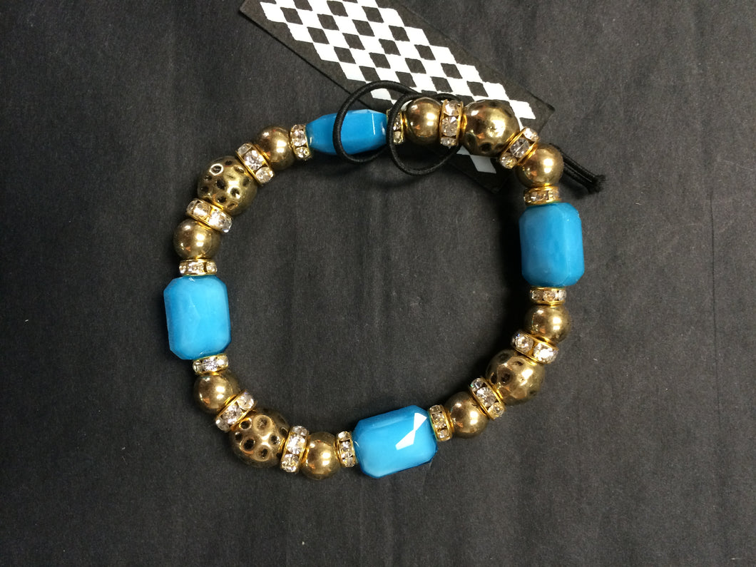 Gold & Aqua Crystal Stretch Bracelet