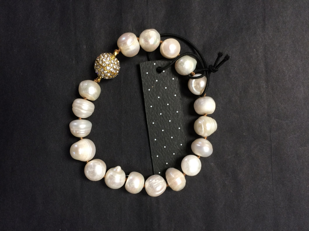 Knotted Fresh Water Pearl Magnetic Pave Bracelet