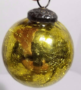 Gold Crackle Glass Kugel Style Ornament