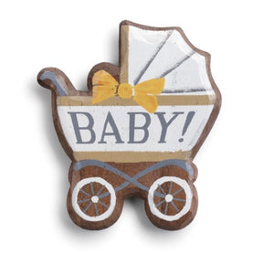 Baby Carriage Magnetic Wooden Token
