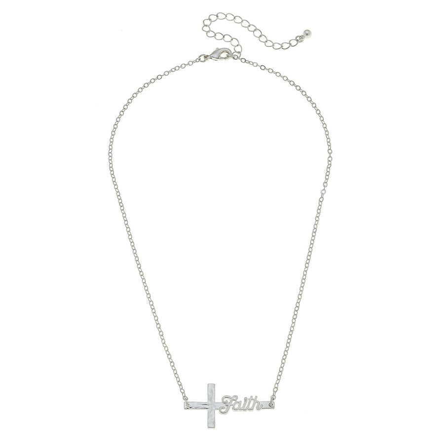 Script Faith Silver Cross Necklace
