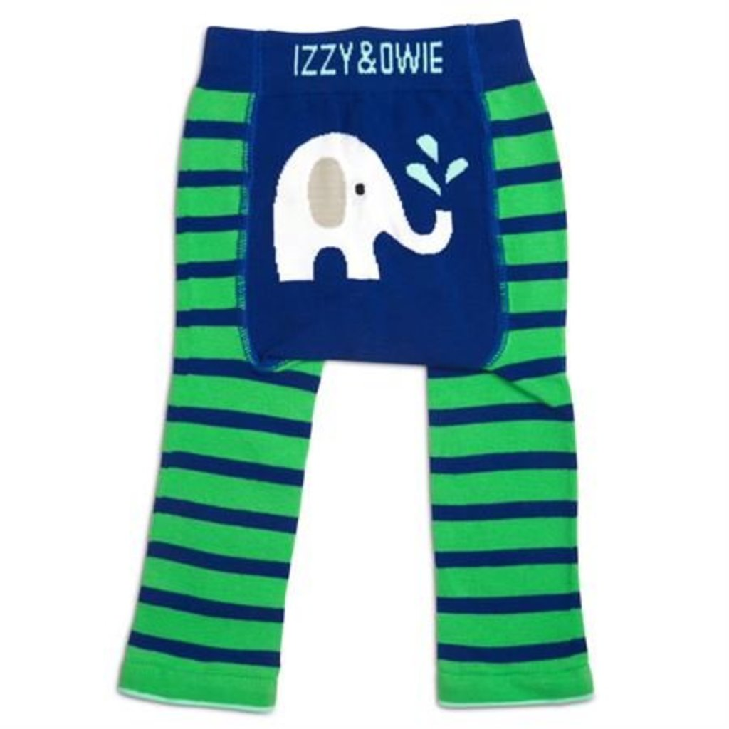 IZZY & OWIE Blue & Green Elephant Leggings  12-24 months