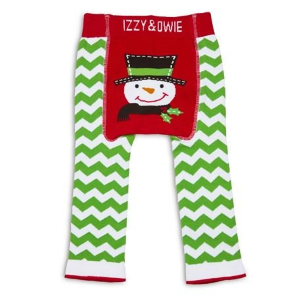 Red & Green Snowman Leggings 6-12m